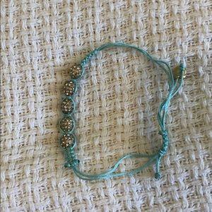 J. Crew Turquoise & Gold Crystal Bracelet